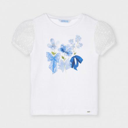 Mayoral szalaggal díszített virágos kislány póló