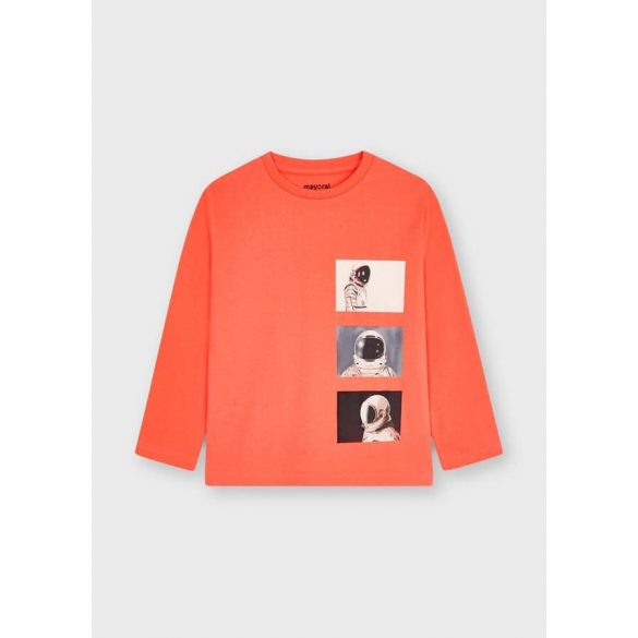 Mayoral coral színű asztronauta mintás fiú póló