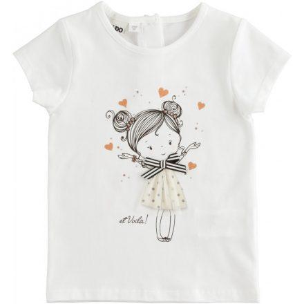 Ido tüllel kombinált lány póló