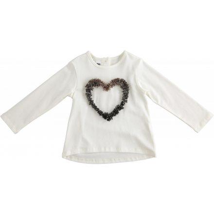 Ido szív alakú organza virágokkal díszített póló