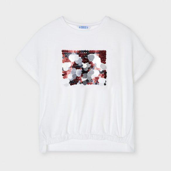 Mayoral piros ezüst flitteres lány póló