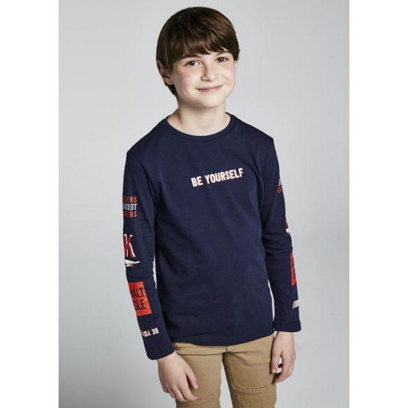 Mayoral hosszú ujjú sötétkék feliratos fiú póló
