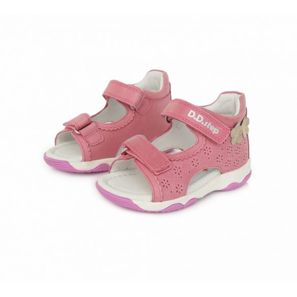 D.D.step pink virágos tépőzáras lány szandál AC64-176A