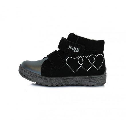 Ponte20 fekete szíves supinalt lány cipő Da06-1-743A